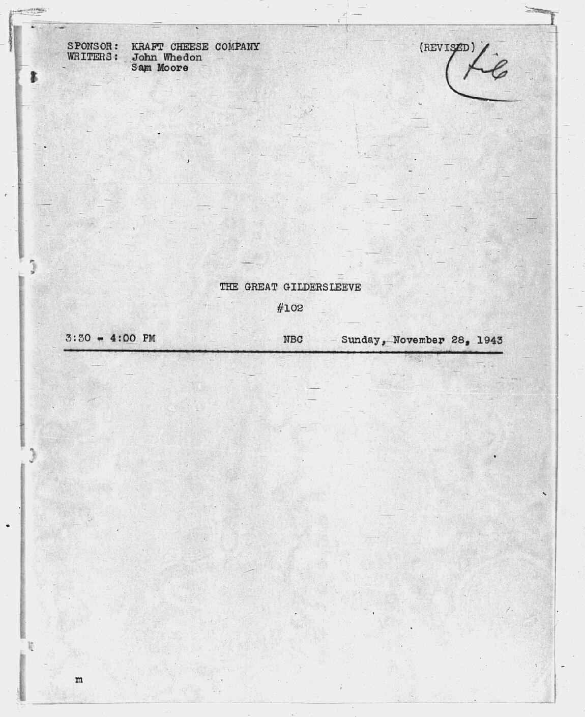 Script Cover Page